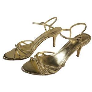 Aldo gold strappy heels sandals rhinestone straps